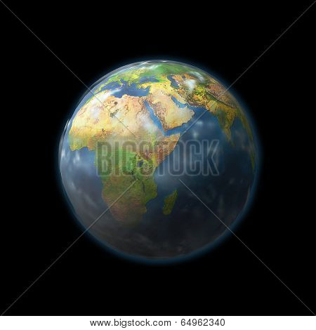 Earth Globe With Isolated On Black Background
