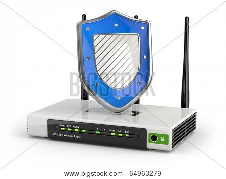 Internet security. Router with shield on white isolated background. 3d