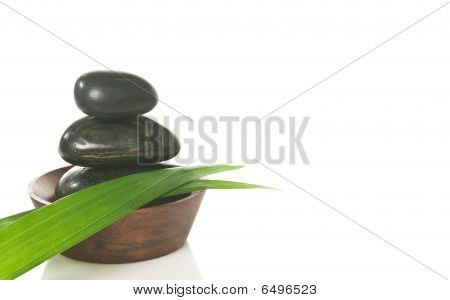 Bamboo Leaves And Pebbles