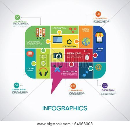 Network communication infographic Template with interface icons, puzzle, speech bubble and text. Network communication concept
