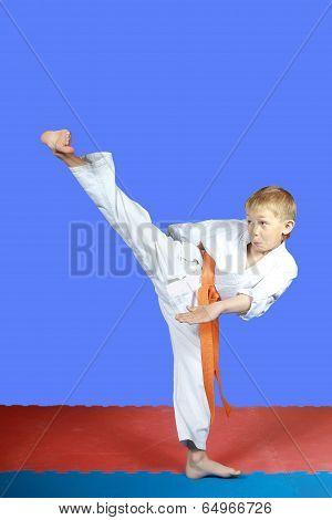Yoko-geri in performing small boy karate