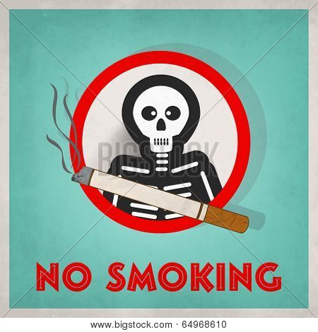 Vintage Poster, banner or flyer design for World No Smoking Day with human skeleton and cigarette on green background.