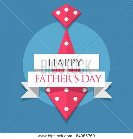 Creative poster, banner or flyer design with necktie and stylish text Happy Father's Day  on blue background.