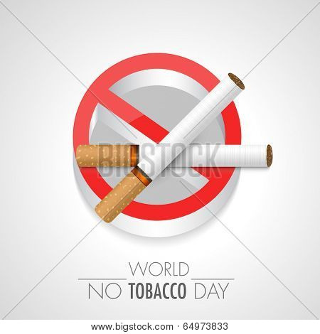 World No Smoking sticker, tag or label design with cigarette on grey background.