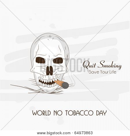 World No Tobacco Day poster, banner or flyer design with sketch of a human skull on grey background.
