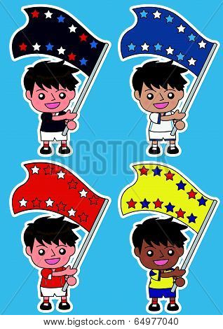 Vector cartoon soccer Sport Fan with Flag
