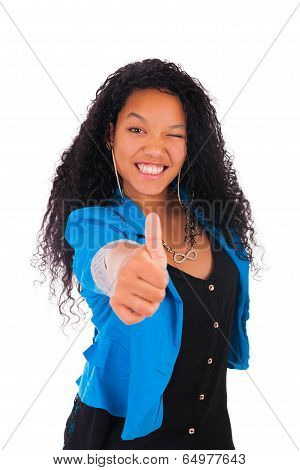 Thumbs Up Happy Success For Pretty Young African American