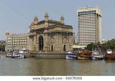 Mumbai, Maharashtra,India April 30: Gateway of India & hotel Taj