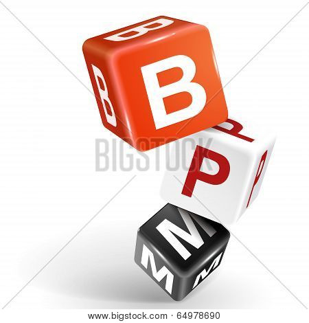 3D Dice Illustration With Word Bpm