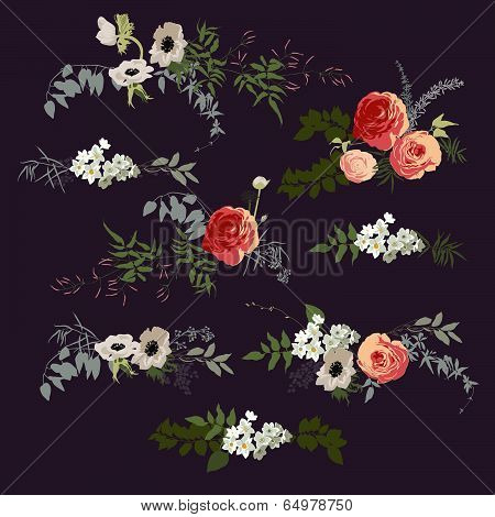 Set of bouquets. Floral design variations for cards, posters, invitations. Graphic elements poster