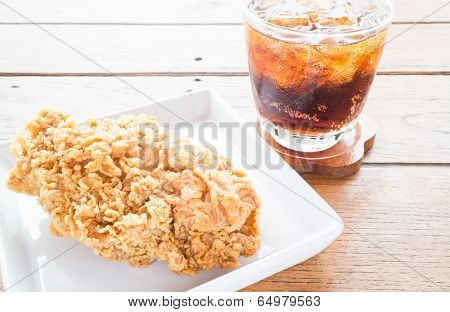 Close Up Fried Chicken With Cola Drink