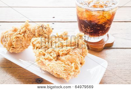 Set Of Fried Chicken With Cola Drink