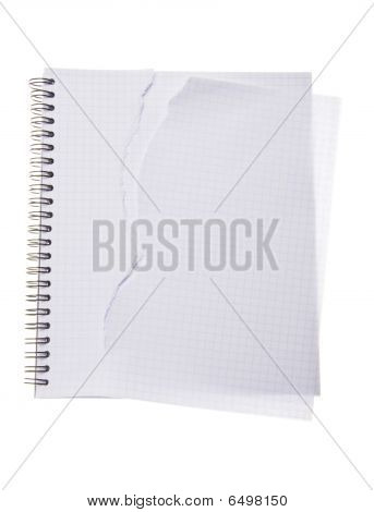 Torn Copybook Isolated On White Background