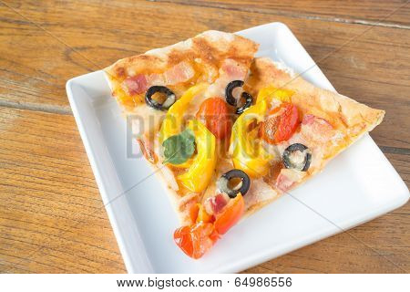 Homemade Pizza With Fresh Vegetable Topping