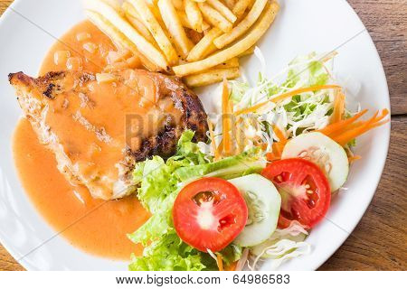Grilled Chicken Steak In Tomato's Sauce