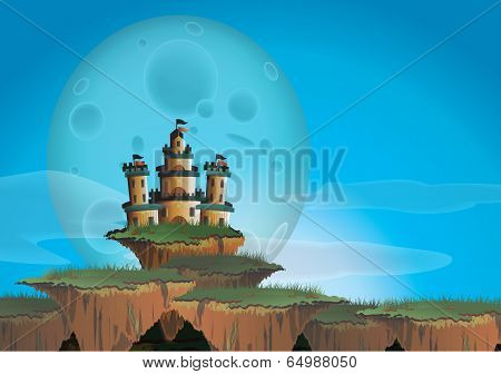Fantasy Landscape With Castle On A Floating Island