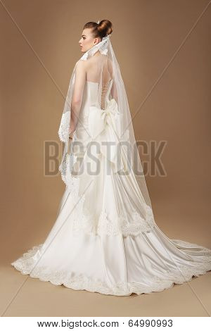 Graceful Woman In Light Sumptuous Dress And Veil