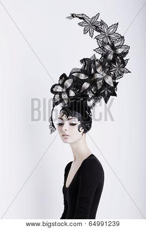 Creative Concept. Portrait Of Futuristic Woman In Art Fabulous Headdress