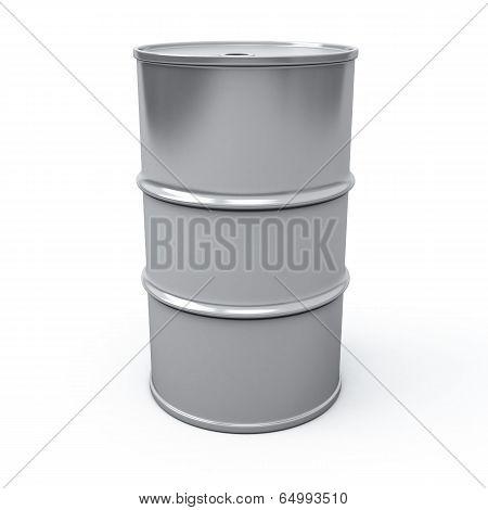 Metallic oil barrel, 3d
