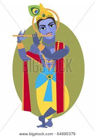vector illustration of Hindu deity Lord Krishna flute poster