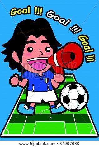 Vector cartoon soccer Sport Fan with speaker