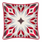 Interior design element: Decorative pillow with patterned pillowcase (abstract red flower). Isolated on white. Vector illustration. poster