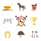 Horse and equestrian icons in flat style with a horse or pony in profile  stables  paddock  riding hat  jump  trophy  horseshoe  whip   crop  brush  saddle and emblem with a shield and crossed swords poster