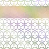 Green and lavender pastel defocused background with geometric ornament and bright stripe poster