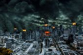 Detailed destruction of fictitious city with fires explosion sinkholes split ground train derailment. Concept of war natural disasters judgement day fire nuclear accident terrorism or meteorite fallout. poster