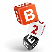 vector 3d dice with word B2E business to employee on white background poster