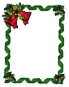 Image and illustration composition Christmas design with holly leaves, bells and green damask ribbons for greeting card, invitation or background. Image and illustration composition with copy space or photo frame poster