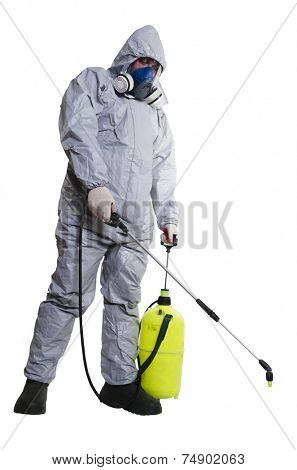 A pest control worker wearing a mask, hood, protective suit and dual air filters holding a hose to help exterminate rats and other vermin. poster