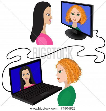 Illustration of two women having a video chat through the internet