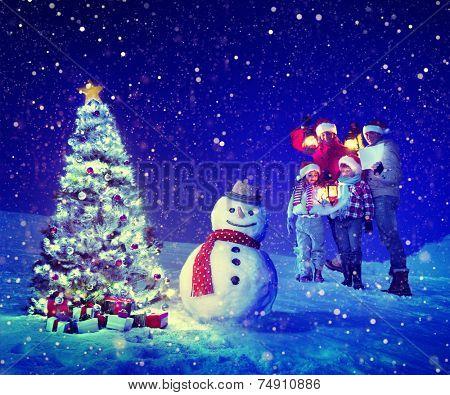 Christmas Tree Family Carol Snowman Concept