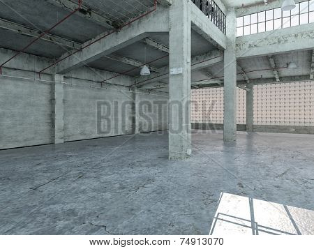 3D Rendering of Empty industrial loft in an architectural background with bare cement walls, floors and pillars supporting a mezzanine with windows along one wall