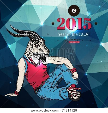 2015 hipster background. Year of the goat.  Geometric design. Vector illustration.