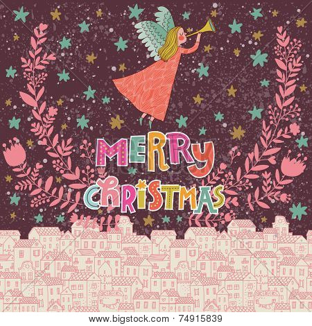 Angel in the sky. Vintage Christmas card in pink colors in vector. Bright concept holiday background