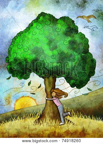 Young girl hugging a tree. Digital illustration.