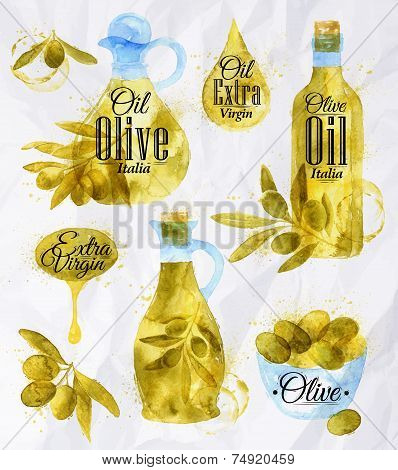 Watercolor Drawn Olive Oil