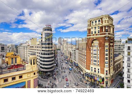 MADRID, SPAIN - OCTOBER 15, 2014: Gran Via at the Iconic Schweppes Building. The street is the main shopping district of Madrid.