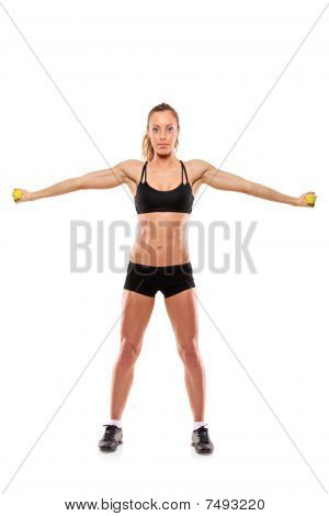 A young woman exercising isolated on white background