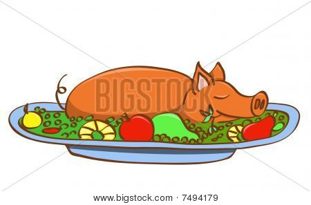Young pork on dish. Vector illustration. Isolated on white. poster