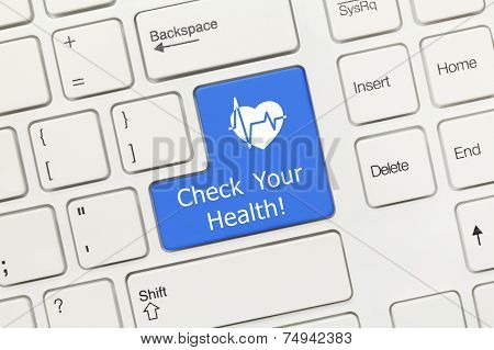 White Conceptual Keyboard - Check Your Health (blue Key With Heart Symbol)