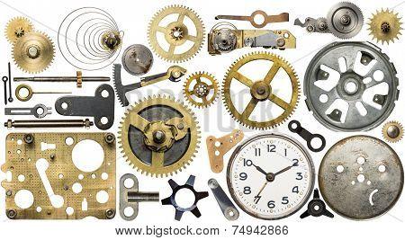 Clockwork spare parts. Metal gear, cogwheels, dial.