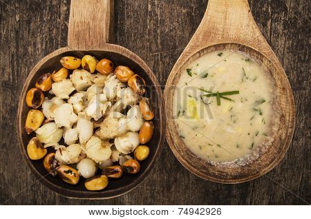 hominy and toasted corn nuts mote with tostado ecuadorian traditional food