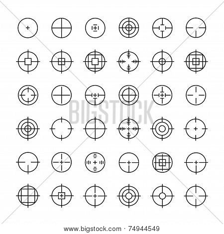 Set of different flat vector crosshair sign icons. Line simple symbols. Target aim symbol. Circles and rounded squares buttons. poster