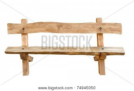 Bench. Wooden. of rough planks and logs. rustic bench of ecological materials.