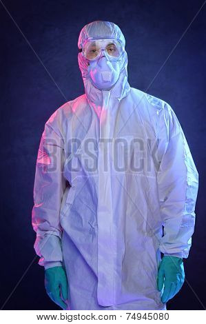 Scientist in Hazmat suit and protective gear over blue background