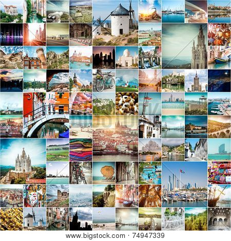 collage of travel photos from different cities of the world
