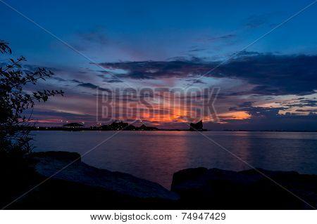 Koh Loi Sriracha Silhouette With Sunset Sky